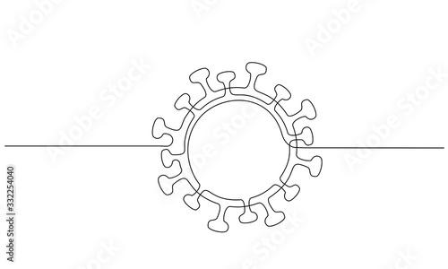 Fotografie, Obraz COVID-19 continuous one line symbol. Concept Coronavirus