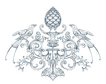 Floral Decorative Vector Elements With Birds And Cone, Rococo And Baroque Style