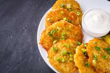 Delicious Crispy Potato Pancakes On Dark Stone Background