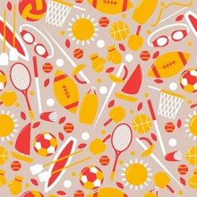 Sporty Seamless Pattern, Banne...