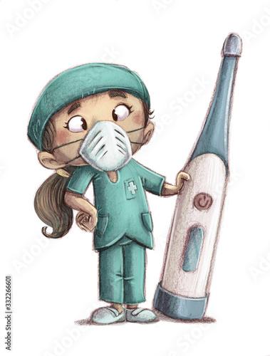 Fototapeta nurse girl with giant thermometer obraz