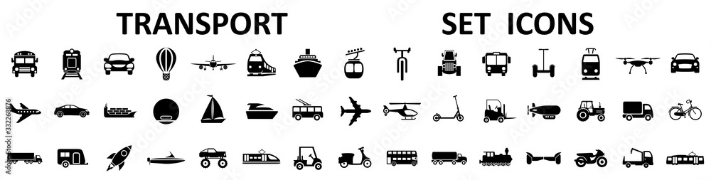 Fototapeta Transport, vehicle and delivery icons set. Flat shipping delivery symbols – stock vector
