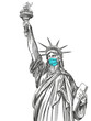 statue of liberty in a mask, coronavirus is a dangerous disease in the United States of America, a respirator, protection from the virus. hand drawn vector illustration sketch