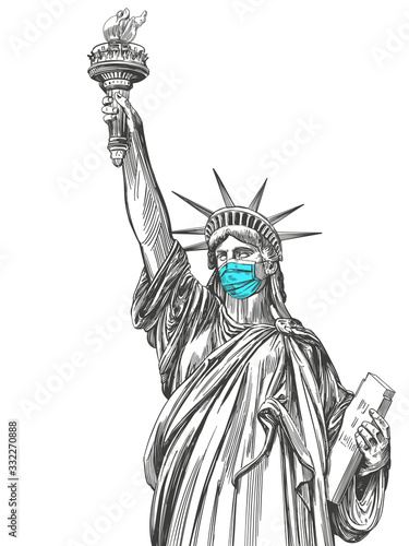 Fototapeta statue of liberty in a mask, coronavirus is a dangerous disease in the United States of America, a respirator, protection from the virus. hand drawn vector illustration sketch obraz