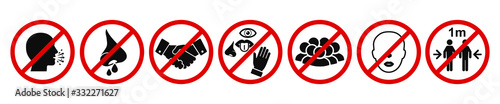 Fényképezés Set of prohibiting icons: no cough, no runny nose, no handshake, no touch the eyes, nose, mouth, no crowd, no without a mask, no less than 1 meter
