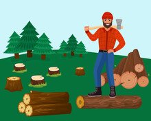 Lumberjack Man With Axe In For...