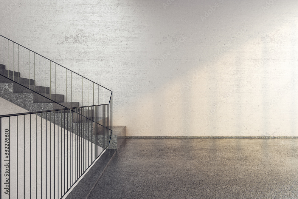 Fototapeta New concrete stairs in office building