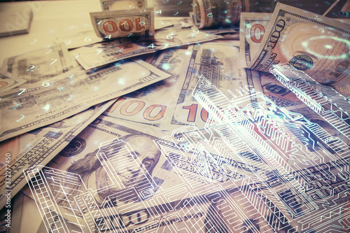 Fotomural Double exposure of town drawing over usa dollars bill background