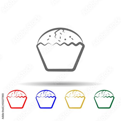 Fototapeta Enriched bun, bread hand drawn multi color icon