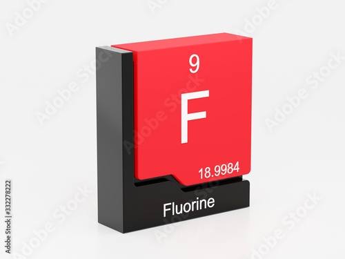 Fluorine, periodic table element modern icon series, 3D rendered on white background
