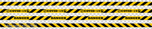 Photo Corona virus 2019-nCoV Quarantine Ribbon Vector illustration