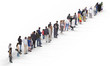 Crowd or queue sidelong view. Illustration on white background, 3d rendering isolated.