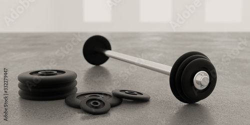 long metal dumbbells and black weights on gym floor and white background 3d illustration render