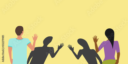 Social distancing greeting concept vector where two people avoid handshakes and Tableau sur Toile