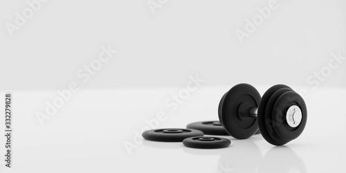 black metal dumbbells and weights on white background 3d illustration render