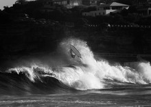 Black And White Photo Of A Surfer Wiping Out, Sydney Australia