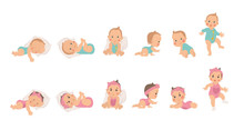 Set Of Young Baby Health And D...