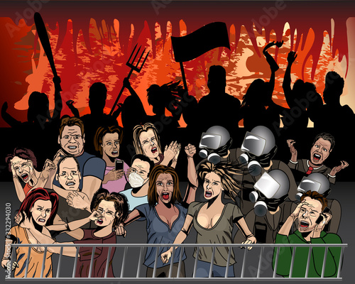 Fotografiet Apocalyptic Crowd - Handdrawn Ink Comic Book Style
