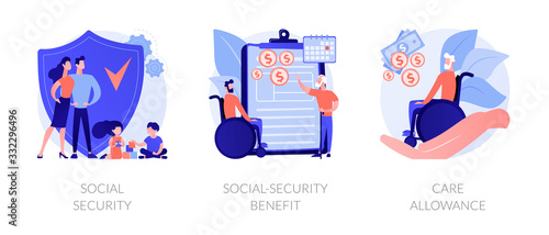 Obraz Families with children protection. Disabled and retired people financial support. Social security, social-security benefit, care allowance metaphors. Vector isolated concept metaphor illustrations - fototapety do salonu