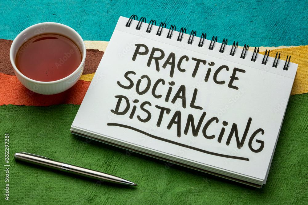 Fototapeta practice social distancing text in art sketchbook