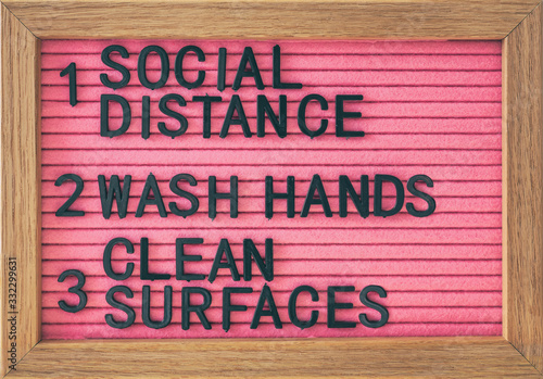 Fototapeta Coronavirus COVID-19 Prevention sign for social distance, hand hygiene, sanitisation of surface. Self isolation and stayin home social distancing, washing hands frequently, cleaning surfaces. obraz