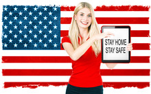 Stay Home Corona Virus Pandemie Concept Woman American Flag