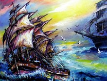 Art Oil Painting Color  Boat S...