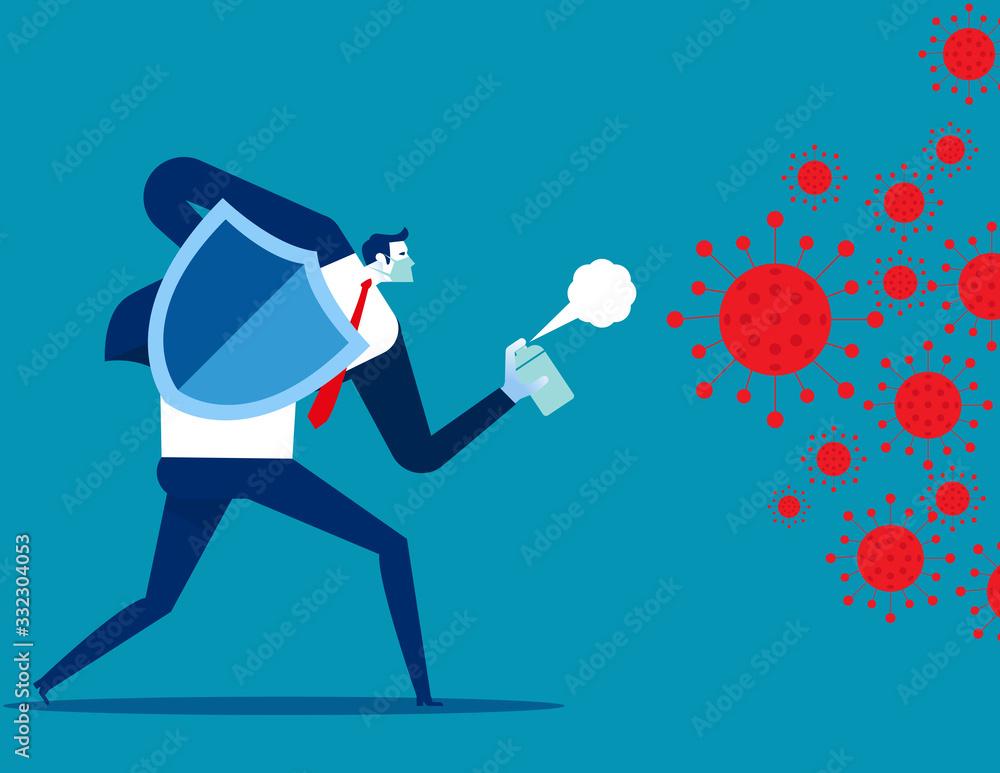 Fototapeta People fighting COVID 19 virus. Implications for business
