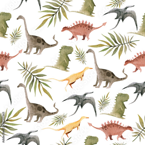 Fototapeta Hand drawing watercolor сhildren's pattern of cute dino and tropical leaves of palm