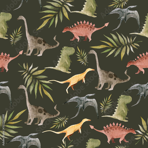 Photo Hand drawing watercolor сhildren's pattern of cute dino and tropical leaves of palm