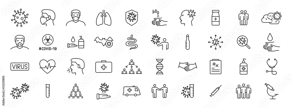 Fototapeta Set of 40 Coronavirus protection web icons in line style. Safety, health, coronavirus, virus, outbreak, contagious, epidemic, infection. Medical mask. Vector illustration.