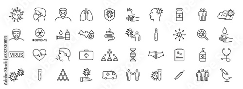 Set of 40 Coronavirus protection web icons in line style Fototapete