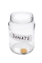 Glass Jar For Donations With O...