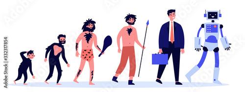 Fényképezés Human evolution theory flat vector illustration