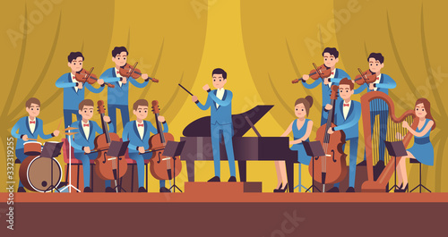 Plakaty atrybuty muzyczne  symphony-orchestra-classical-music-concert-conductor-and-musicians-with-instruments-violin-flute-and-cello-trumpet-and-harp-vector-concept