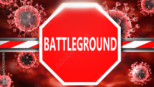 Battleground and Covid-19, symbolized by a stop sign with word Battleground and Canvas Print