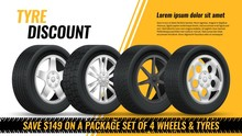 Tires Discount. Realistic Black Rubber Tyre With Shining Disk Advertisement Flyer, Banner, Car Tire Promo Poster Retail Vector Concept