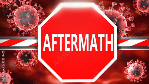 Aftermath and Covid-19, symbolized by a stop sign with word Aftermath and viruse Canvas Print
