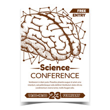 Anatomical Science Conference Promo Poster Vector. Brain Intelligence Anatomical Human Organ. Medical Anatomy Mind Intellect, Memory And Thinking Organism Monochrome Illustration