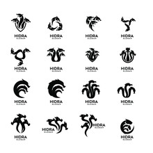 Collection Of Hydra Logo Black Icon Design Vector Illustration