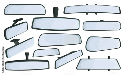 Photo Rear view mirrors isolated cartoon set icon