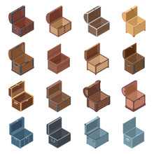 Open Chest Isolated Isometric Icon. Vector Illustration Wooden Coffer On White Background .Vector Isometric Set Icon Open Chest.