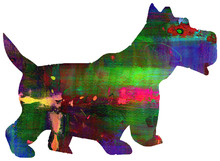 Scottish Terrier Dog Whimsical Abdtract Painting