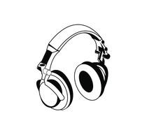 Vector Headphones Icon - Black...