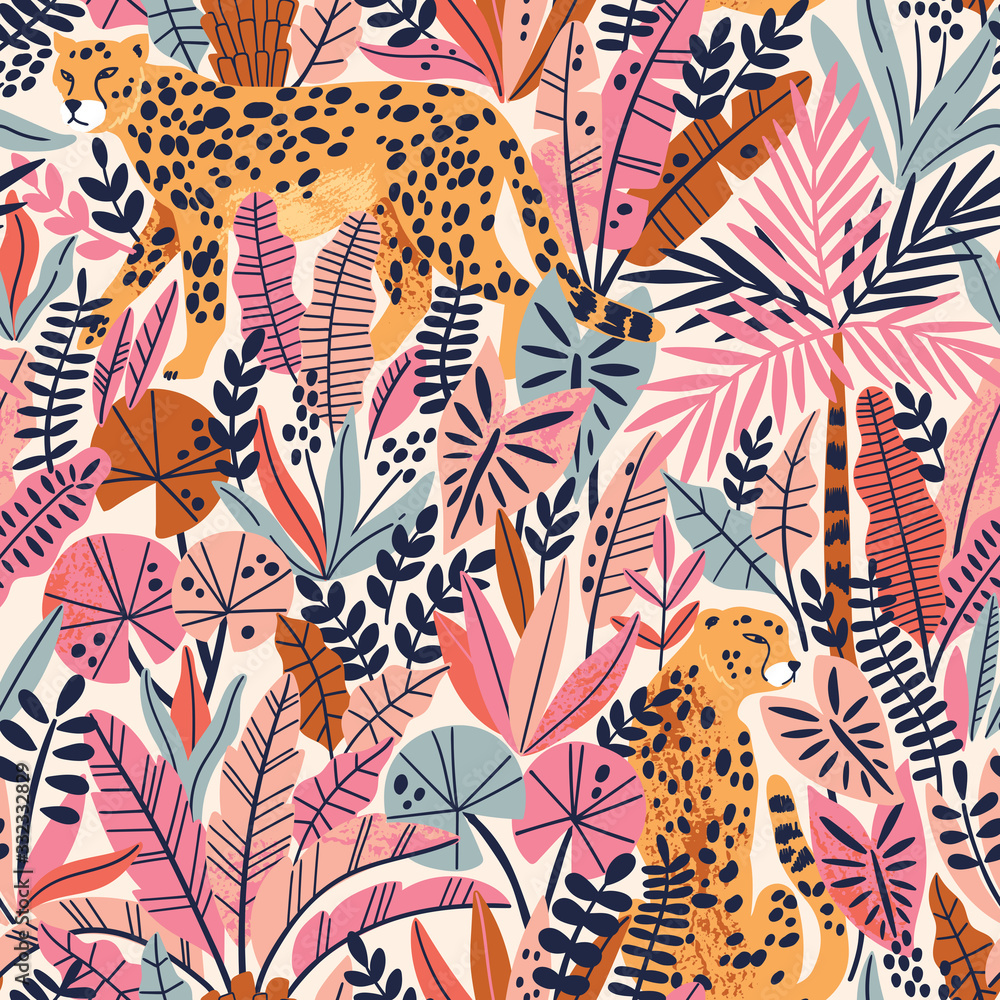 Fototapeta Cheetah with palm leaves exotic seamless pattern. Summer paradise in tropical jungles with wild animals, and fantastic florals.