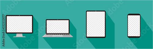 Obraz pc laptop tablet smartphone vector illustration - fototapety do salonu
