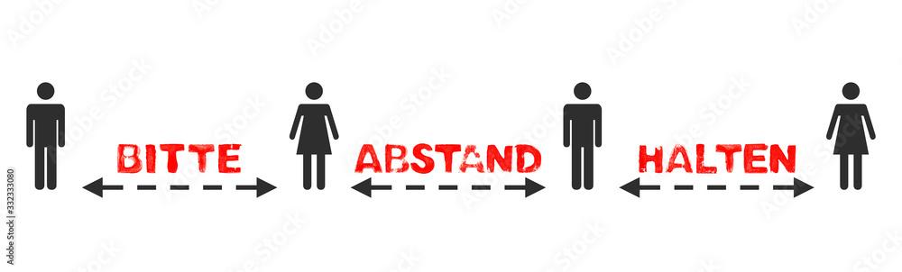 Fototapeta Text: Bitte Abstand halten zwischen 4 Menschen