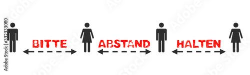 Cuadros en Lienzo Text: Bitte Abstand halten zwischen 4 Menschen