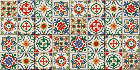 Mediterranean seamless pattern from Moroccan tiles, Azulejos ornaments. Can b...