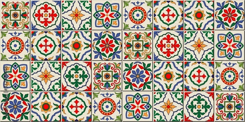 Mediterranean seamless pattern from Moroccan tiles, Azulejos ornaments Wallpaper Mural